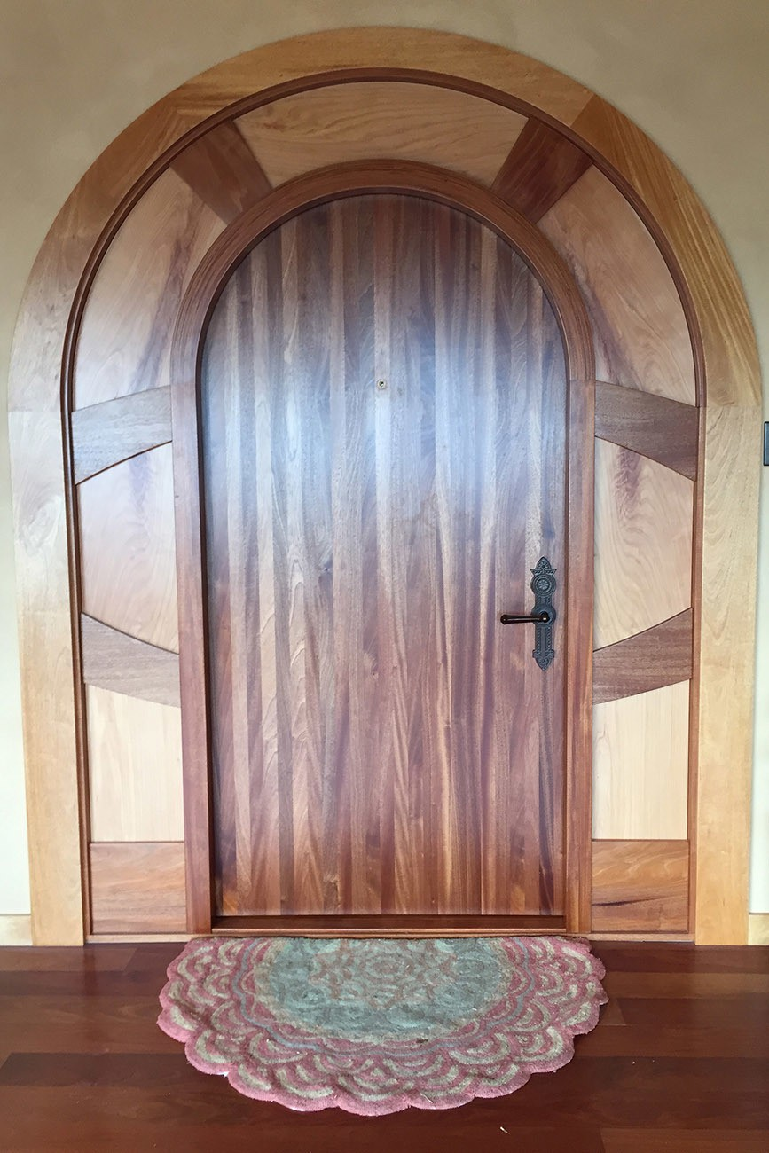 New Custom door. Sapele, H. Mahogany, and M. Cypress. Built by Eddie - Exterior