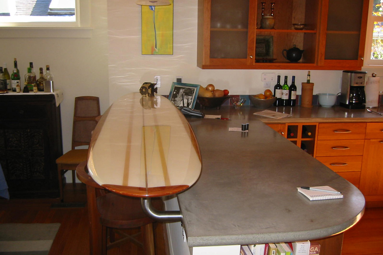 Surfboard and Concrete Counter tops