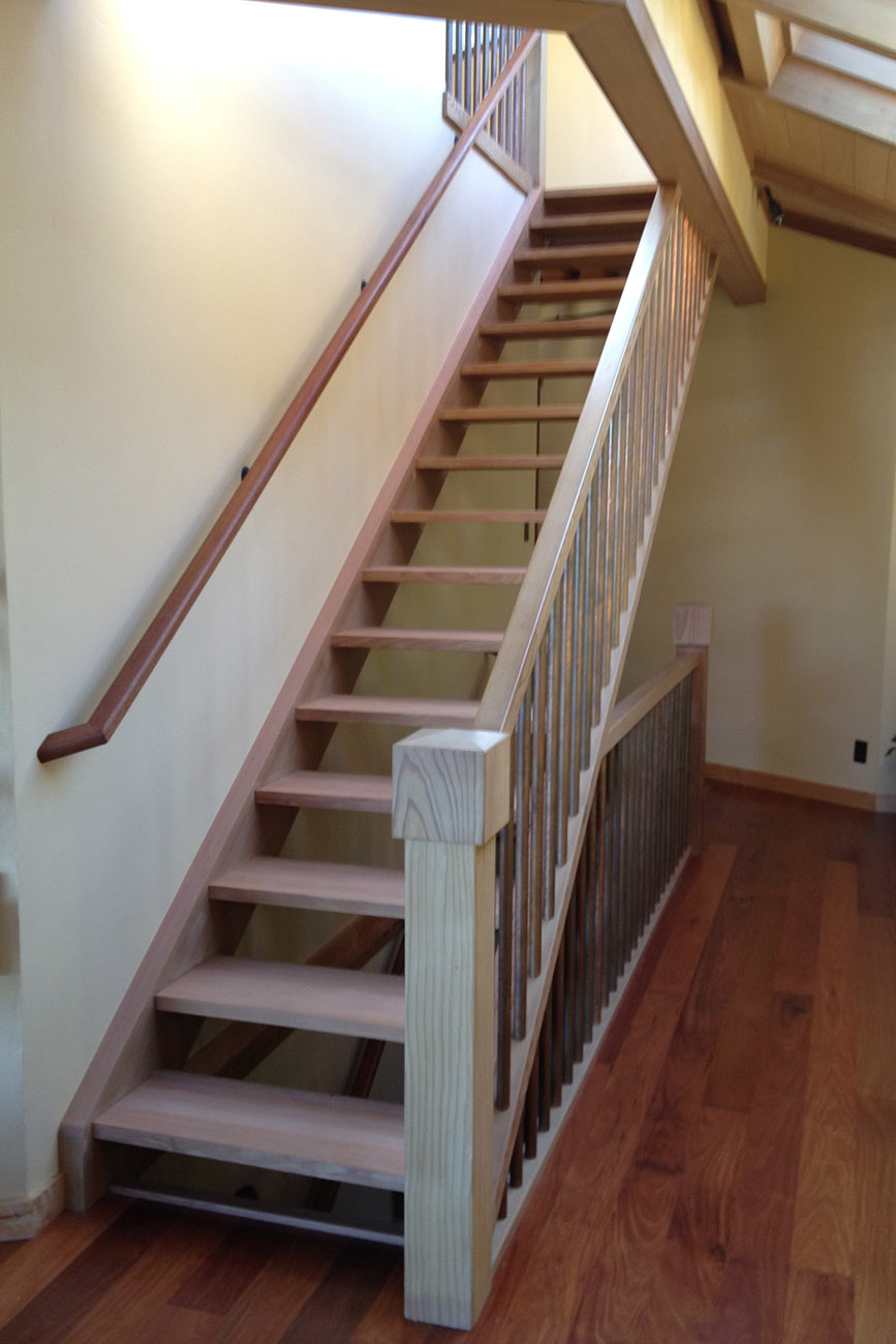 Custom Redwood Staircase with Copper Ballasters